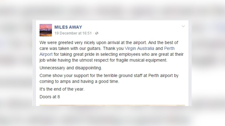 The band's edited Facebook post about the incident.