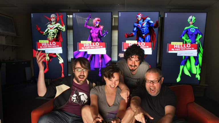 Tin Man Games is based at the Arcade co-working space. (From left) Clinton Shepherd, Kamina Vincent, Ben Kosmina and Ben Britten.