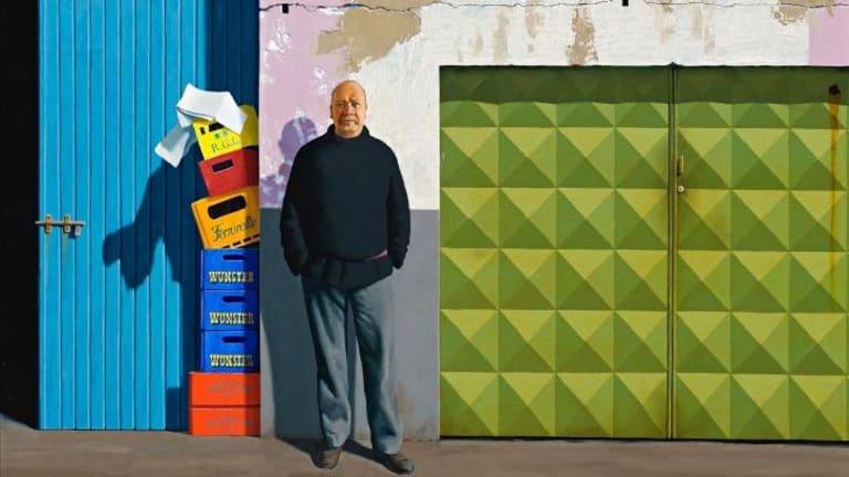 Jeffrey Smart's <em>Self Portrait at Papini's</em> (1984-85).