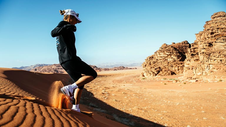 Mina Guli tackles the Arabian desert in Jordan as part of the 7 Deserts Run4Water expedition. This year her running focus is on rivers.