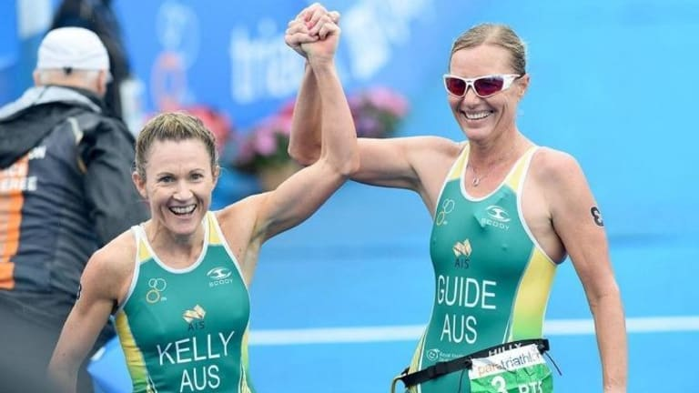 Katie Kelly and guide Michellie Jones celebrate the win at the Yokohama World Paratriathlon Event in Japan on May 16.