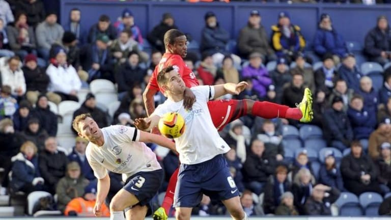 Bolter: Bailey Wright, front, in action for Preston North End.