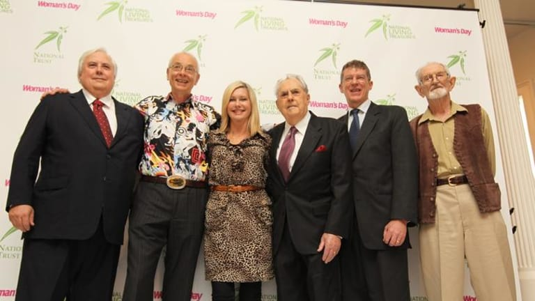 Six of the seven people announced as new national treasures pictured after the presentation. From left: Clive Palmer, Karl Kruszelnicki, Olivia Newton-John, Jack Brabham, Dr Ian Frazer and Harry Butler.