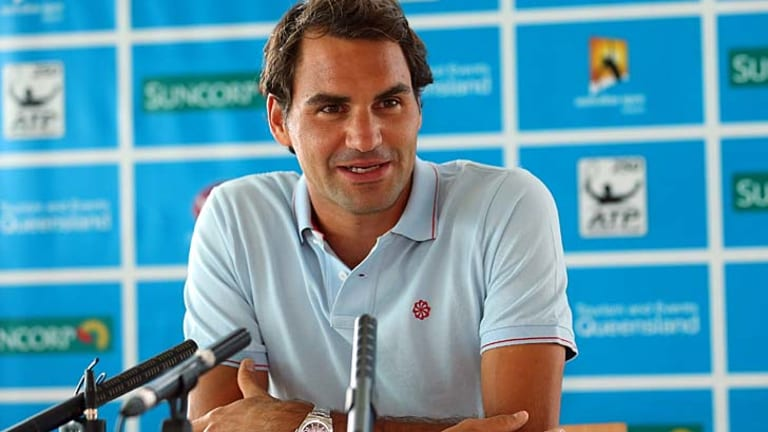 Roger Federer speaks to the media in Brisbane on Saturday.