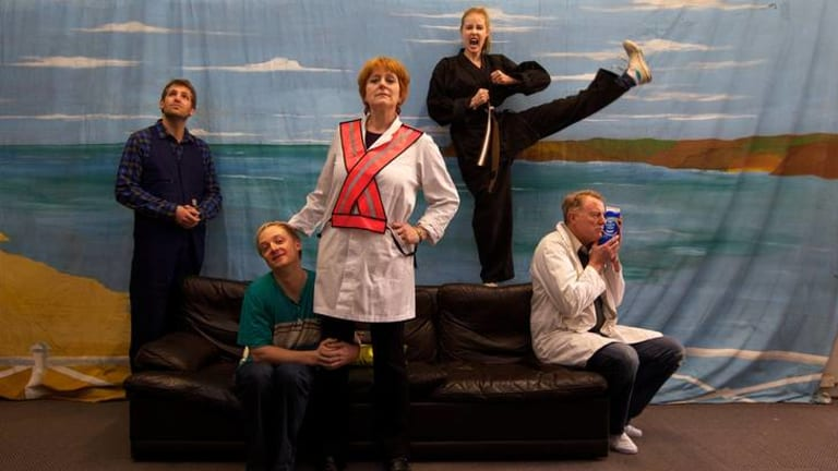 Tim Ross, Tim Potter, Christine Keogh, Kristina Brew and Russell Fletcher, the cast of Red Stitch production <i>The Kitchen Sink</i>.