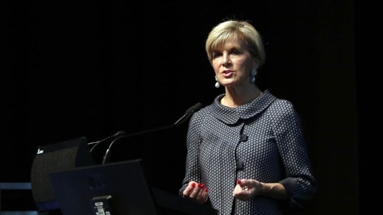 Foreign Minister Julie Bishop speaks at the opening of the Kimberley Process in Perth on May 1, where Chinese delegates protested against the presence of Taiwanese representatives.