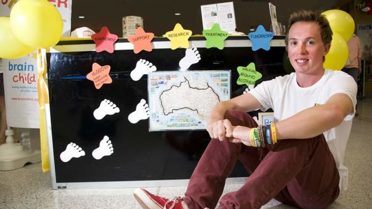 Hardy Jimmy Harrington, 20, is walking 16,000km around Australia to raise funds for children with brain and spinal-cord tumours.
