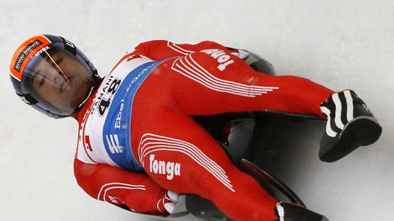 Tonga's 'Bruno Banani' during a practice session at the FIL Luge World Championships in Cesana Pariol, Italy.