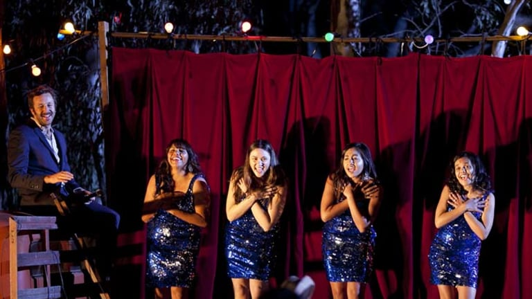 Shining ... from left, Chris O'Dowd, Deborah Mailman, Shari Sebbens, Jessica Mauboy and Miranda Tapsell on the Sydney set of The Sapphires.