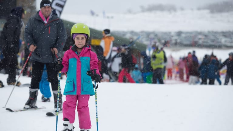 A young skier at Perisher on Saturday.