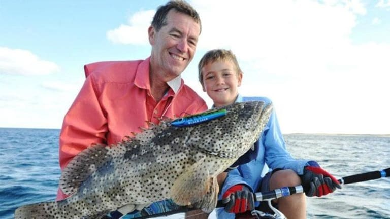 Hal Harvey and his son Jack off Exmouth in 2012.