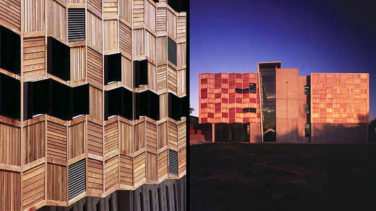Wooden skin: The RMIT textiles building.