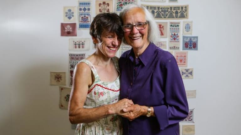 Mother and daughter artists Joan and Alison Clouston with part of their artwork <i>Never-ending</i> at the Sydney College of the Arts.
