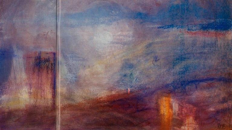 <i>Summer Evening, Tasmania</i>. Watercolour, oil pastel on paper, 1986.