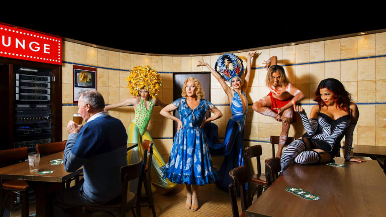 Tony Sheldon (as Bernadette centre), 2 Gumbies (Blake Appelqvist & Jakob Ambrose), Cynthia - Ping Pong Lady (Lena Cruz), Jimmy Aboriginal drag queen (Leonard Mickelo) the cast of Priscilla.