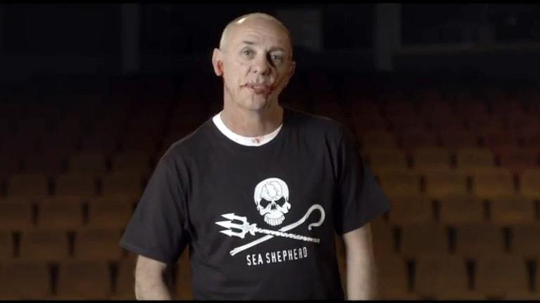Australian actor David Field portrays the death of a whale in a video <em>The Ultimate Death Scene</em> by Sea Shepherd.