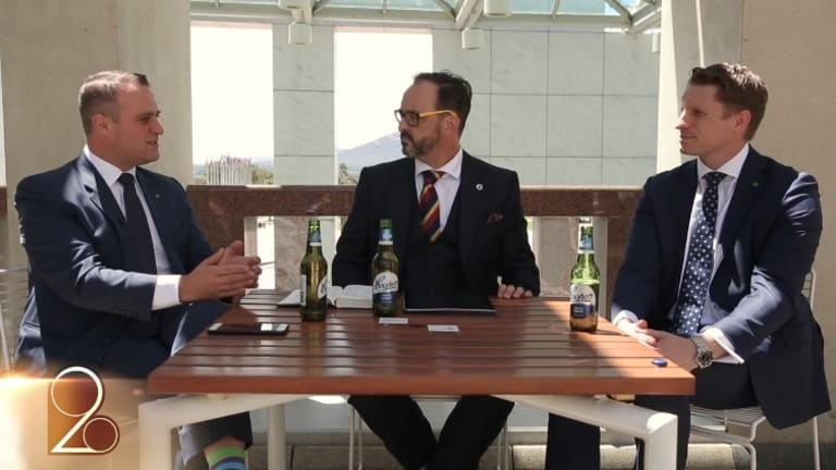 Liberal MPs Tim Wilson (left) and Andrew Hastie (right) debated marriage equality a segment while drinking Coopers Light.