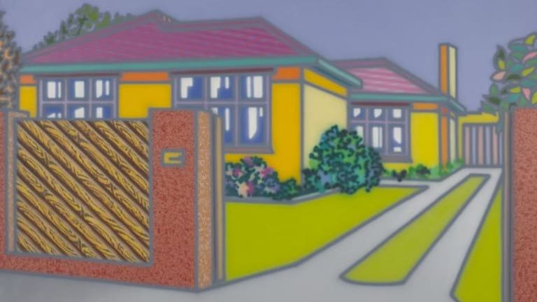Howard Arkley's <em>Large House With Fence</em> (1998).
