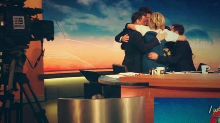 Group hug: the <i>Today Show</i> farewells Georgie Gardner.