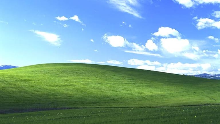 The iconic default Windows XP background picture.