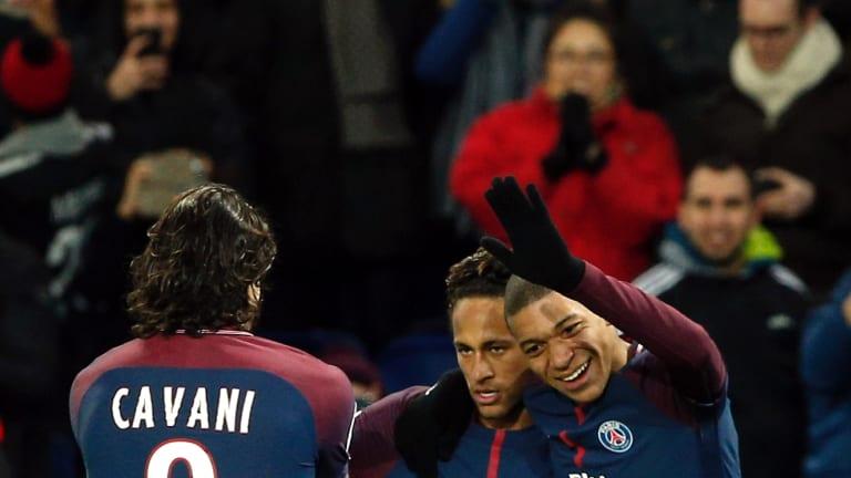 All smiles: Neymar with Edinson Cavani and Kylian Mbappe.