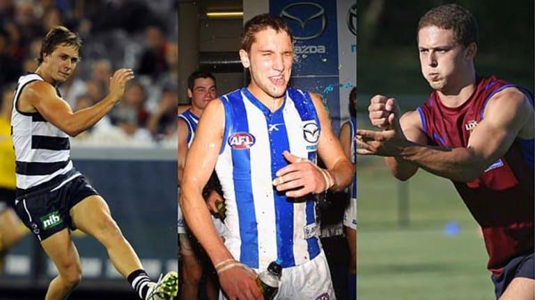 Geelong's Mitch Duncan, Kangaroo Jamie MacMillan, and Brisbane Lion Callum Bartlett. <i>Photos: Sebastian Costanzo, Getty Images, Steve Ripper</i>