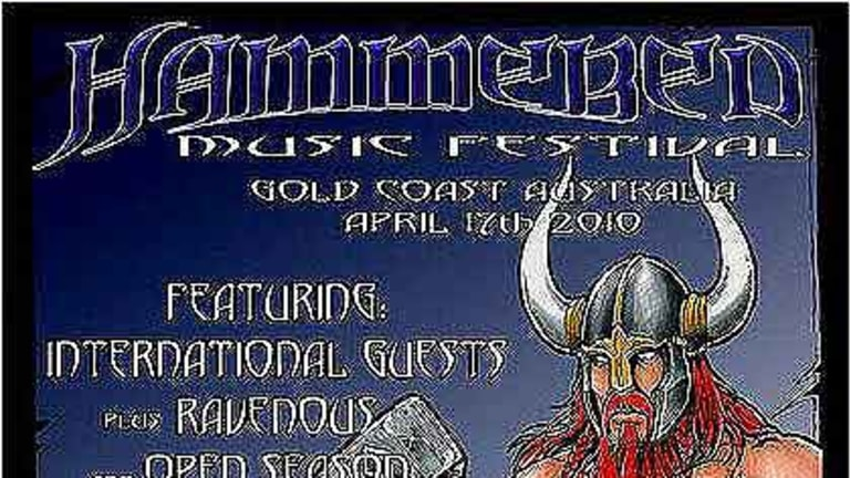 A poster advertising the Southern Cross Hammer Skinheads' race-hate music festival on the Gold Coast.