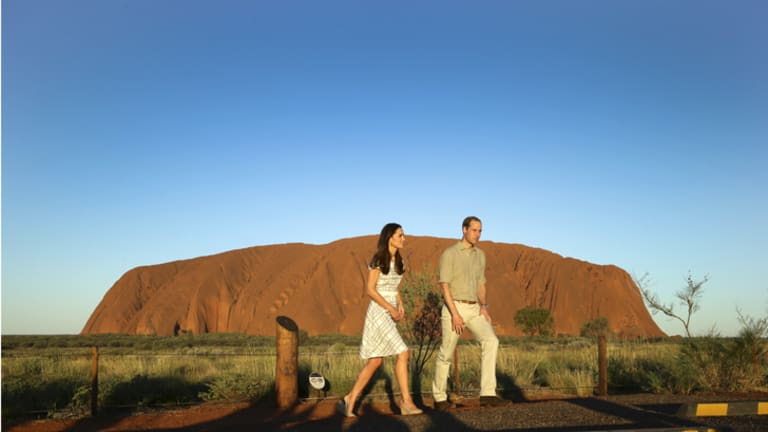 The royal couple were earlier given a private guided tour of Uluru's Kuniya walk.
