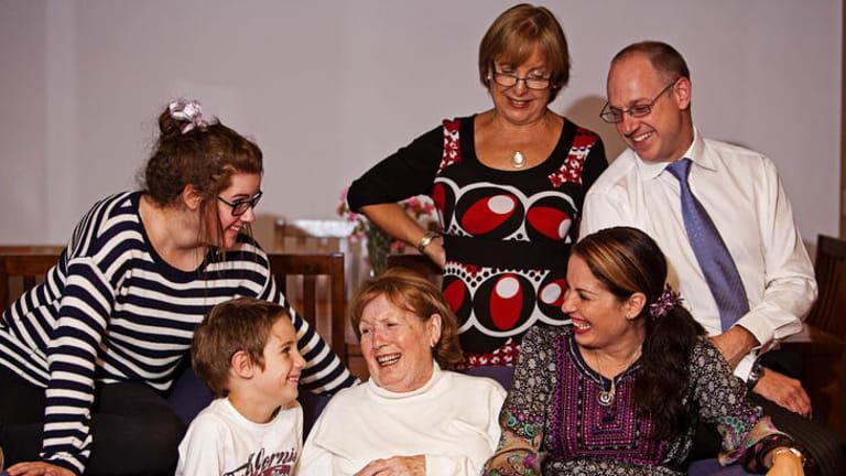 Dementia sufferer Carmen Delgado Cunquero, with daughter Nathalie Brown, seated, son-in-law Ian, grandchildren Rebecca and Ian jnr, and carer Maria Moreno.