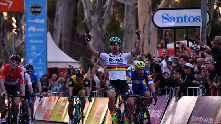 Tour threat: Peter Sagan celebrates his win in the People's Choice Classic at the Tour Down Under cycling event in Adelaide.