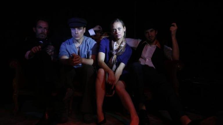 Mark Dickenson, Luigi Lucente, Nadine Garner and Aaron Tsindos in the Helpmann Award-nominated production of Stephen Sondheim's Assassins at fortyfivedownstairs in 2013.