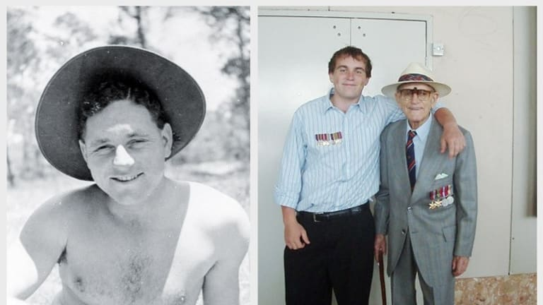 Ted Maris as a young man, and with his grandson Ryan (right).