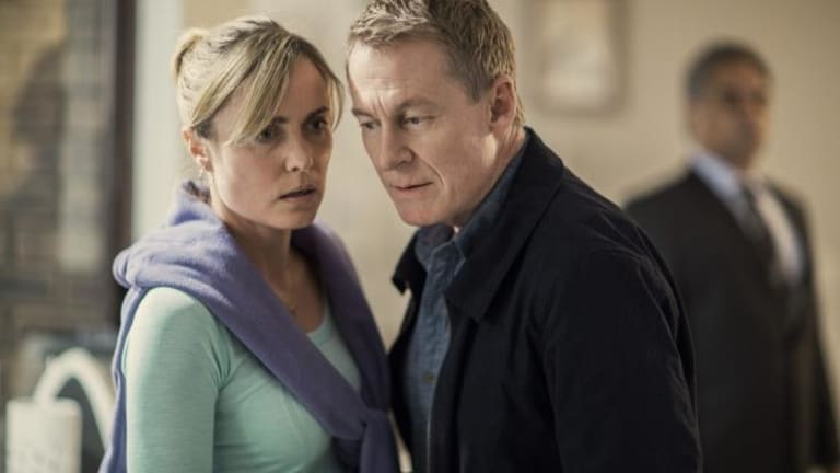 Ordinary people: Radha Mitchell and Richard Roxburgh chase a runaway in <i>Looking for Grace</i>.