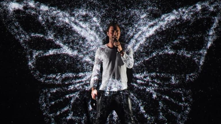 Zelmerloew performs after winning the Eurovision Song Contest.