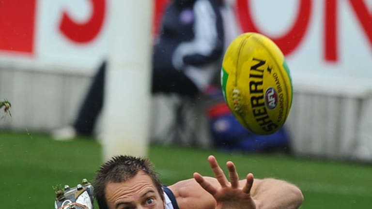 Slip up: Geelong's Joel Corey tries in vain to gather the wet ball.