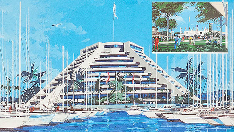 Images featured in promotional material from Brisbane's bid for the 1992 Olympic Games. The main image is of a proposed yacht marina.