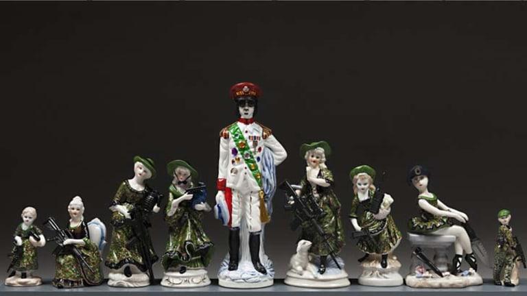 Gaddafi and friends ... Penny Byrne's figurines.