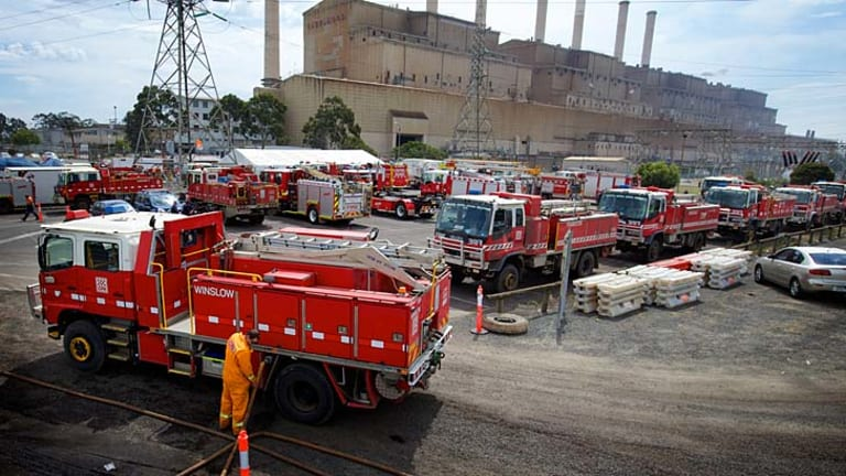 Firefighters fight the Hazelwood mine fire, which took 40 days to fully extinguish.