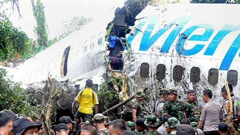 The Merpati airline Boeing 737, which broke into pieces at Rendani domestic airport in Manokwari, West Papua.