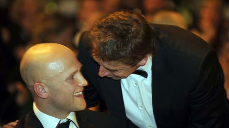 Before the rift: Gary Ablett and Mark Thompson at the 2009 Brownlow Medal count.
