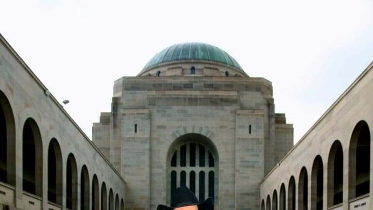 Lee Kernaghan, photographed here at the Australian War Memorial, has refused to ban Reclaim Australia from using his music.