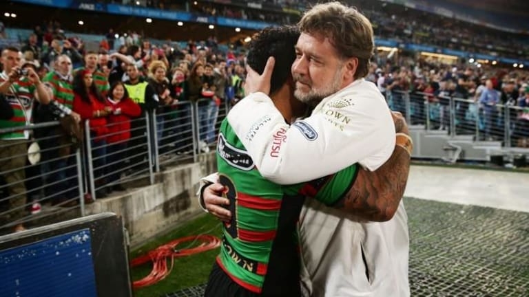 Punters have been offered odds on what Russell Crowe will wear to Sunday's NRL grand final, as well as how he might celebrate the Rabbitoh's first try.