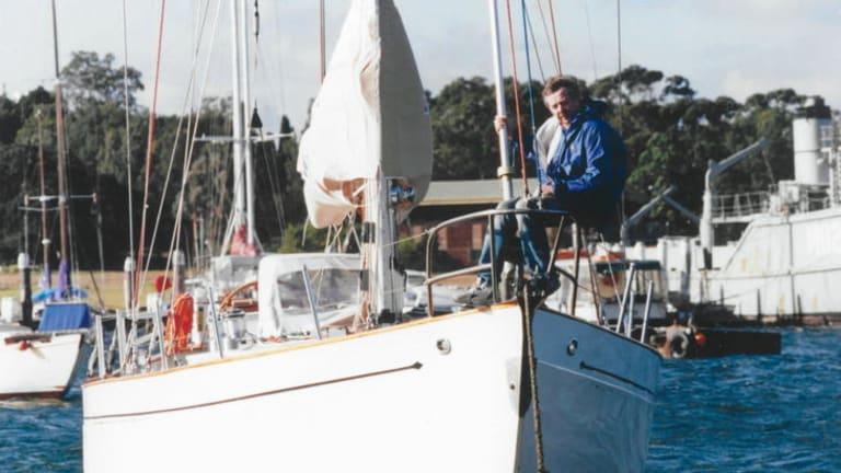 John Stanley aboard the Winston Churchill, which sank in 1998's Sydney to Hobart yacht race.