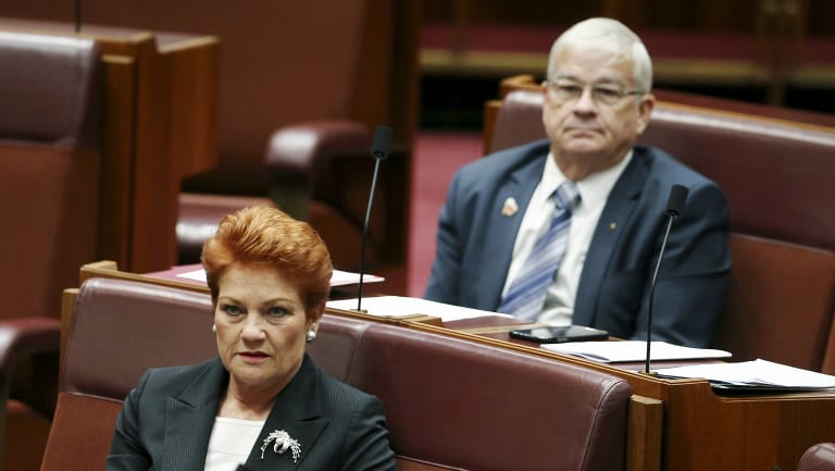 One Nation senators Pauline Hanson and Brian Burston.