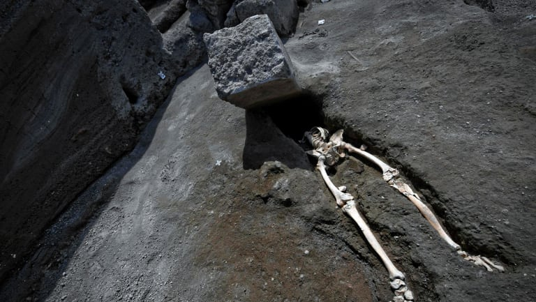 The skeleton was found during excavations in May and is believed to be of a 35-year-old man with a limp who was hit by a pyroclastic cloud during the eruption.
