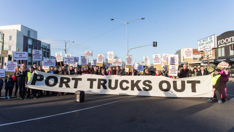 Maribyrnong Truck Action Group (MTAG) protesting against thousands of trucks using residential roads in Yarraville.  Photograph Paul Jeffers Fairfax Media 11 Aug 2016
