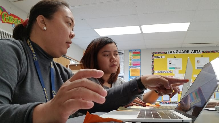 Anna Joy Mariano (left) is one of thousands of Filipino teachers flocking to the US in the midst of a teacher shortage crisis.