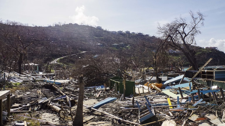 The devastation left by Hurricane Irma in Great Harbour, British Virgin Islands. The islands are still covered with rubbish.