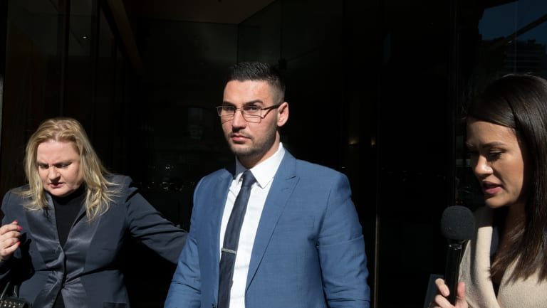 Salim Mehajer outside the Downing Centre court complex before he was jailed for a minimum of 11 months.