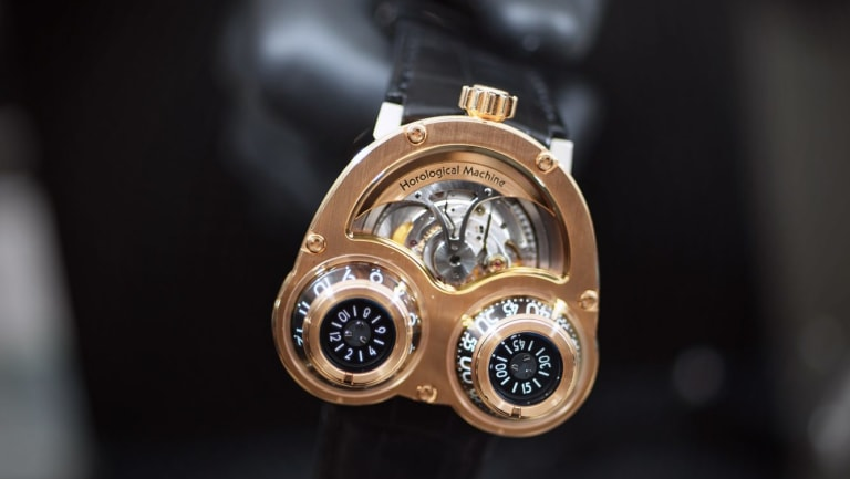 One of the world's most expensive watches. A 3 Megawind, by MB & F, at the Baselworld watch fair in Basel.
